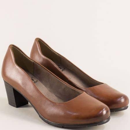 Кафяви дамски обувки на среден ток от естествена кожа 82240423k