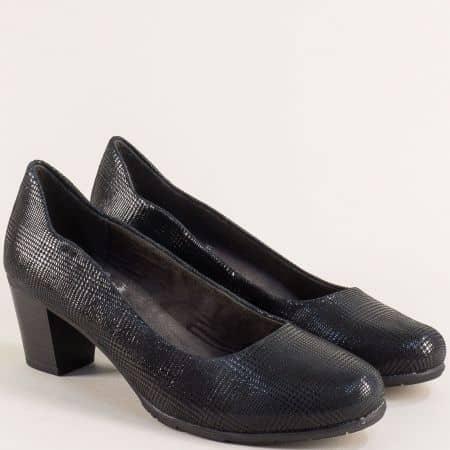 Черни дамски обувки на среден ток от естествена кожа 82240423kch