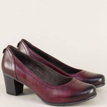 Кожени обувки Jana на среден ток в цвят бордо 82240429bd