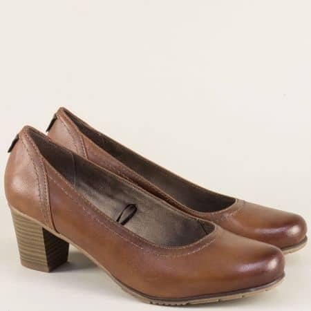 Кафяви дамски обувки на среден ток от естествена кожа 82240429k
