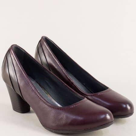 Кожени дамски обувки на среден ток в цвят бордо- Jana 822441bd