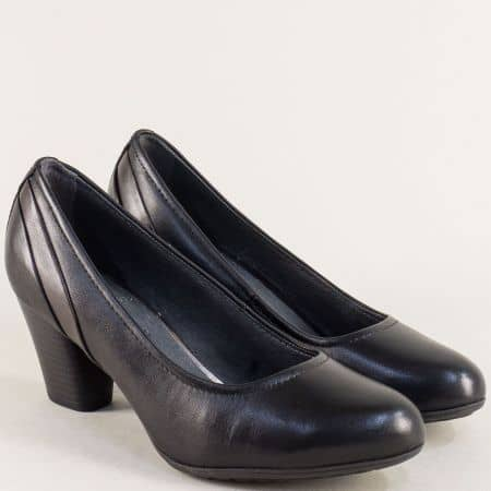 Черни дамски обувки на среден ток с кожена стелка- Jana 822441ch