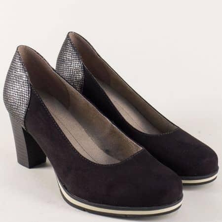 Черни дамски обувки с елемент в сиво на висок ток 82246228vch