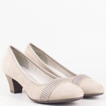 Немски дамски обувки на среден ток в бежов цвят-  Jana 822464vbj