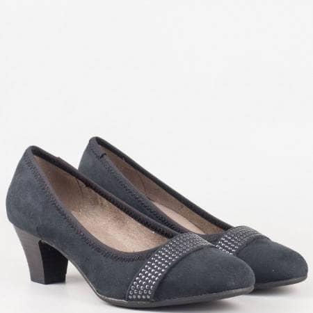 Дамски обувки на среден ток в черен цвят- Jana 822464vch