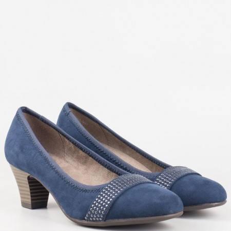 Дамски обувки на среден ток с декорация в син цвят 822464vs