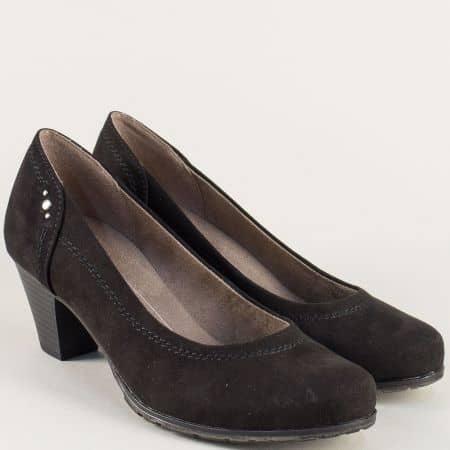Леки и удобни дамски обувки на среден ток в черен цвят  822465vch