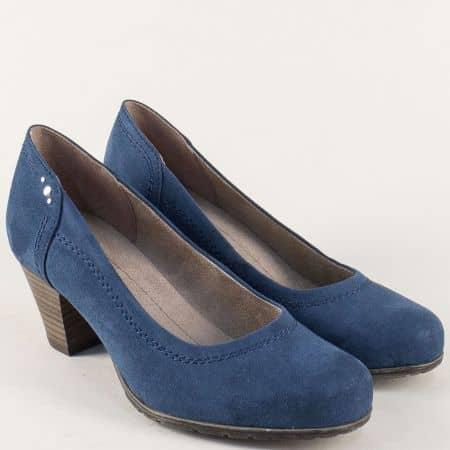 Дамски обувки на среден ток в син цвят- Jana 822465vs