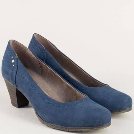 Сини дамски обувки на среден ток на Jana 822465vss