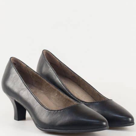 Комфортни дамски обувки- Jana на среден ток в черен цвят със стелка с вградена Memory пяна  822466ch