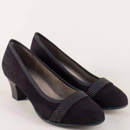 Черни дамски обувки с декорация на среден ток 822474vch
