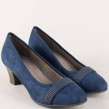 Дамски обувки с декорация на среден ток в син цвят 822474vs