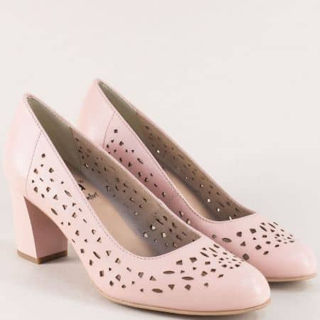 Розови дамски обувки на висок ток от естествена кожа 822491rz