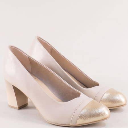 Дамски обувки в бежово и злато от естествена кожа- JANA 822492bj