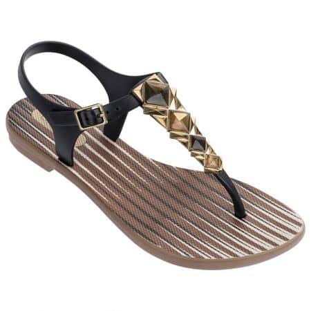 Дамски сандали в бежово и черно- GRENDHA 8227323039