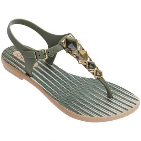 Дамски сандали в зелено и бежово- GRENDHA 8227323111