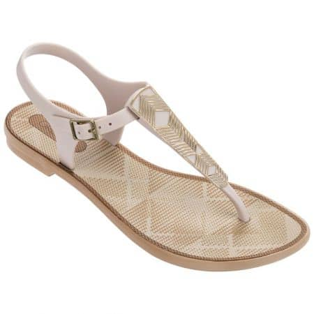 Дамски сандали в бяло и златно- GRENDHA 8227421164