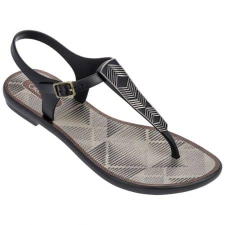 Равни дамски сандали в сиво и черно- GRENDHA 8227421727