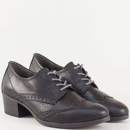 Черни дамски обувки с връзки и ефектен змийски мотив на среден ток от утвърден немски производител  823360zch