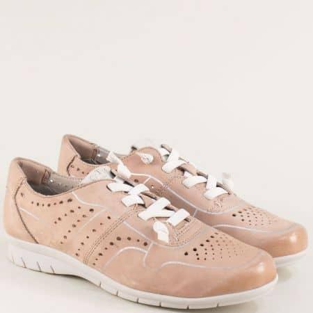 Кожени дамски обувки с ластични връзки в розов цвят 823600rz