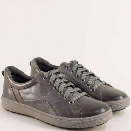 Дамски спортни обувки Jana в сив цвят от естествена кожа 823601sv