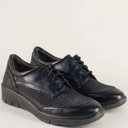 Дамски обувки на платформа с връзки в черен цвят-  Jana 823703ch