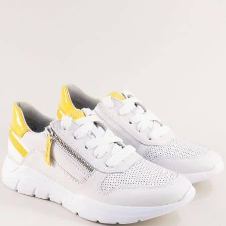 Дамски маратонки в жълто и бяло с честична перфорация 823728b