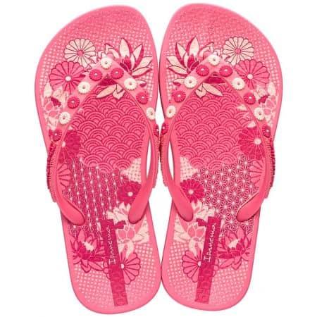 Розови детски джапанки с флорална декорация- IPANEMA 8238720791