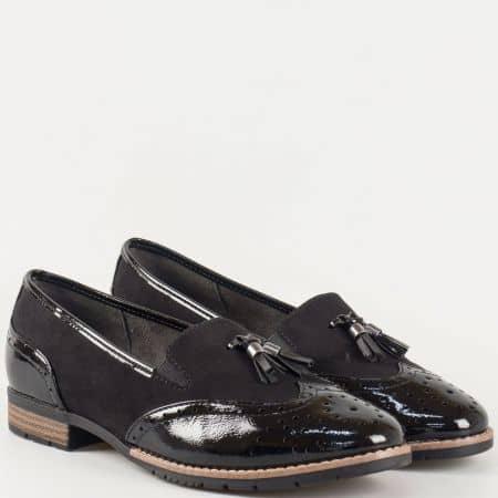 Дамски черни обувки с комфортно ходило на нисък ток със швейцарски мотиви и пискюл- Jana  824260ch