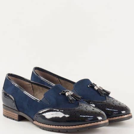 Немски дамски обувки- Jana с комфортно ходило на нисък ток в син цвят с пискюл и швейцарски мотиви 824260s