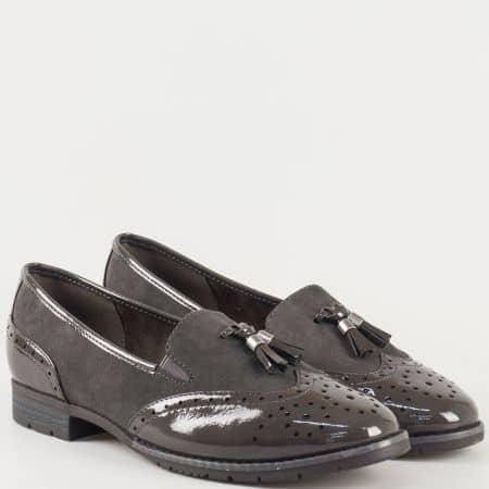 Дамски обувки на нисък ток в стил Оксфорд на немският производител Jana в сив цвят  824260sv