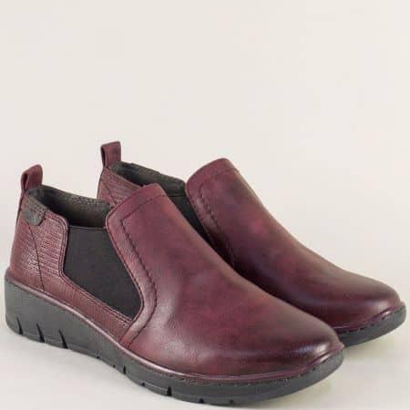 Шити дамски обувки на платформа в цвят бордо-  Jana 8824304bd