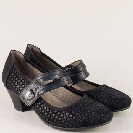 Черни дамски обувки Jana от кожа и велур на среден ток 82433120vch