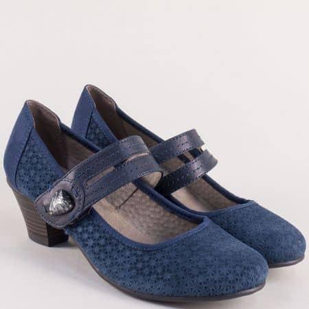 Велурени дамски обувки в син цвят на среден ток- Jana 82433120vs