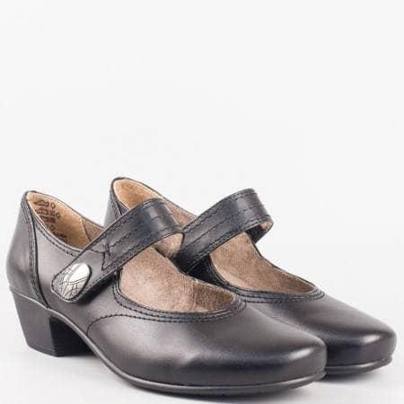 Дамски удобни обувки с велкро лепенка и ластик на немския производител Jana в черен цвят 824361ch