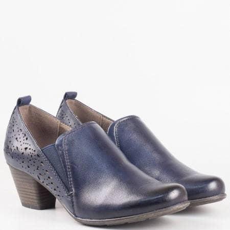 Дамски комфортни обувки изработени от естествена и еко кожа на немския производител Jana в син цвят 824400s