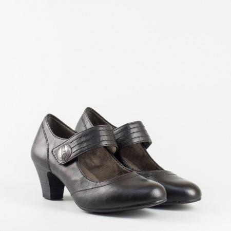 Немски дамски обувки в черен цвят на среден ток с вградена Flex - Comfort система 824462ch