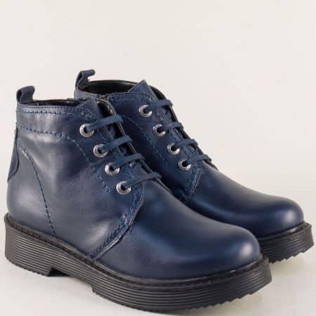 Дамски ботуши от естествена кожа в тъмно син цвят 82448893s