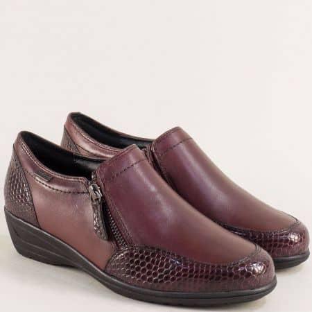 Дамски обувки с два ципа и кроко принт в цвят бордо 824600bd