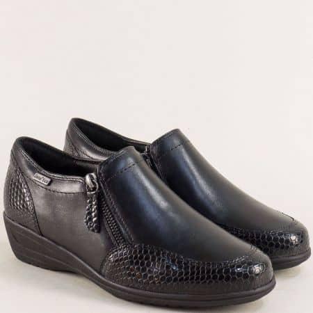 Черни дамски обувки на клин ходило с два ципа- Jana  824600ch