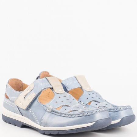 Ортопедични дамски обувки-  Jana от синя естествена кожа с перфорация и велкро лепенка 824620s