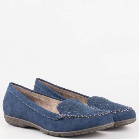 Равни дамски мокасини с перфорация в син цвят-  Jana 824662vs