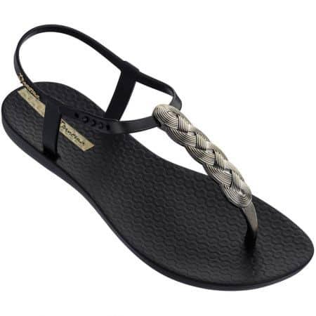 Дамски сандали с лента между пръста в черен цвят 8251721976