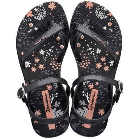 Черни детски сандали с флорален принт- IPANEMA 8252220766
