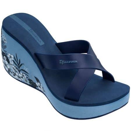 Сини дамски джапанки на платформа с флорален принт 8253420729