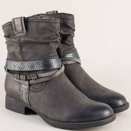 Дамски боти в сив цвят с цип на каучуково ходило- Jana 825461sv