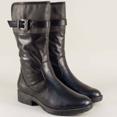 Немски дамски ботуши в черен цвят с коланче и катарама  825463ch