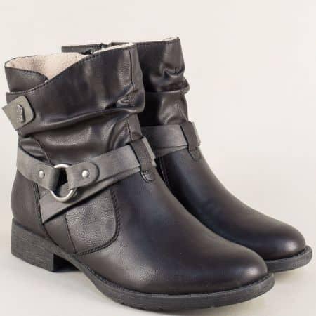 Немски дамски боти с цип в черен цвят на нисък ток 825465ch