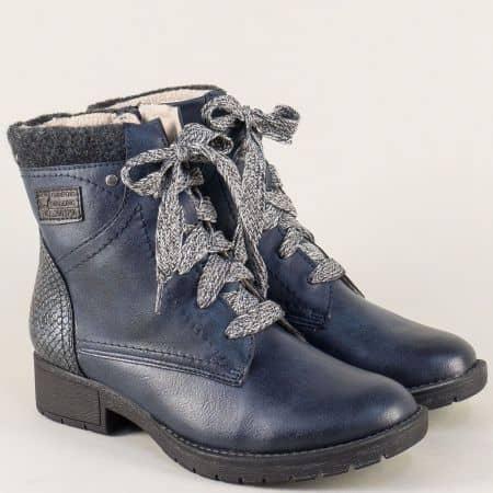 Немски дамски боти в син цвят с връзки и цип 825261s