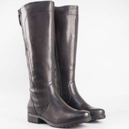Дамски ежедневни ботуши изработени от висококачествена естествена кожа на немския производинтел Jana в черен цвят 825503ch